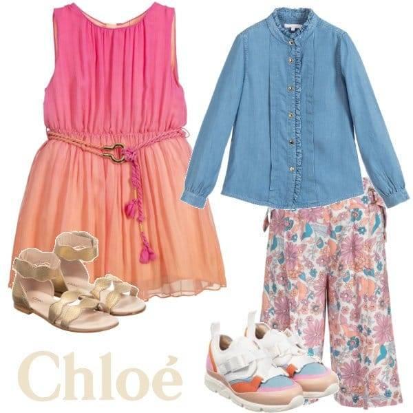 Chloe Girls Pink Orange Silk Dress Blue Denim Shirt Floral Culotte Pants