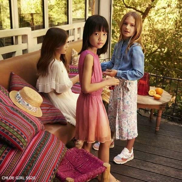 Chloe Girls Mini Me Pink Orange Silk Sheer Crepe Chiffon Dress