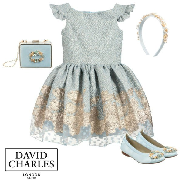 David Charles Girls Blue Brocade Party Dress Shoes Purse