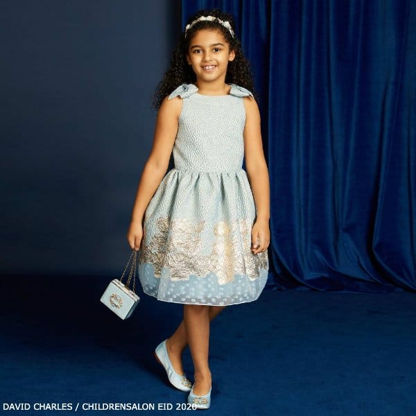 David Charles Girls Pale Blue Gold Special Occasion Dress EID 2020