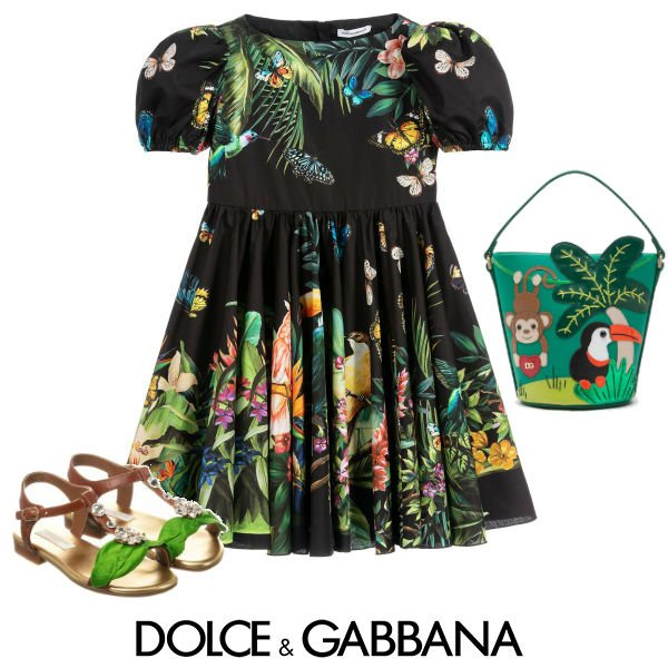 Dolce & Gabbana Black & Green Jungle Dress Spring 2020