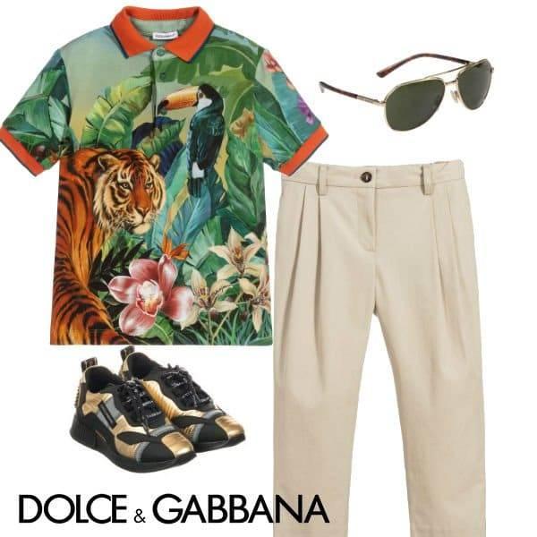 Dolce & Gabbana Boy Mini Me Green Jungle Polo Shirt Beige Pants Spring 2020
