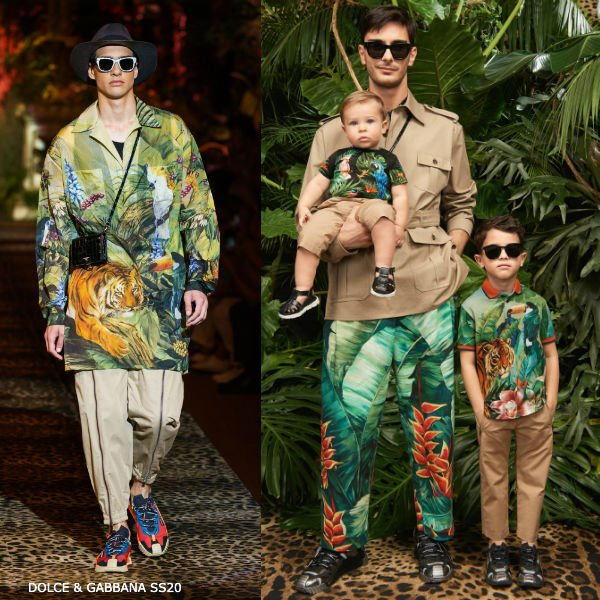 Dolce & Gabbana Boy Mini Me Green Jungle Polo Shirt Beige Pants