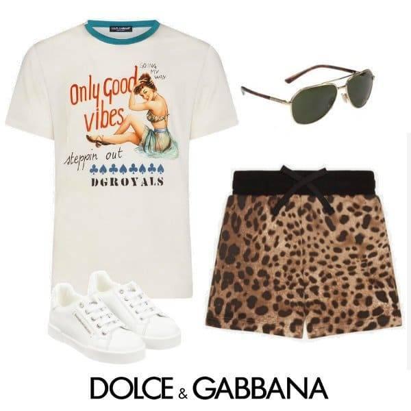 Dolce & Gabbana Boys Mini Me Only Good Vibes T-Shirt & Leopard Print Shorts Spring 2020