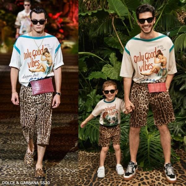 Dolce & Gabbana Boys Mini Me Only Good Vibes T-Shirt & Leopard Print Shorts