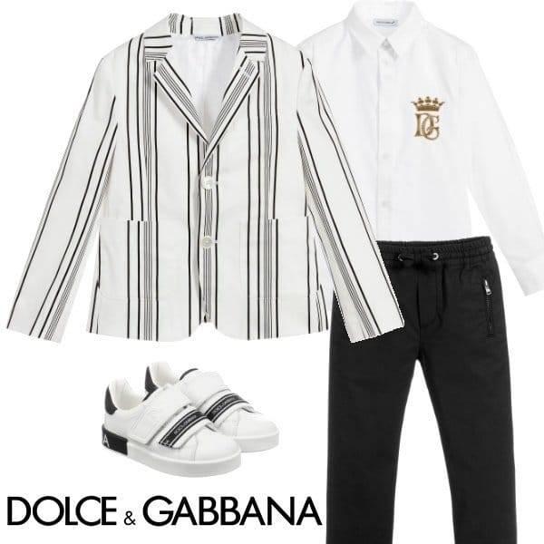 Dolce & Gabbana Boys Mini Me White Striped Cotton Blazer Spring 2020