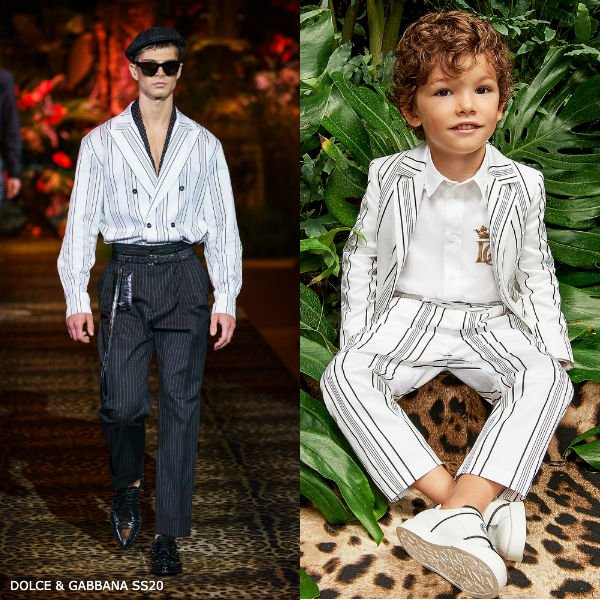 Dolce & Gabbana Boys Mini Me White Striped Cotton Blazer