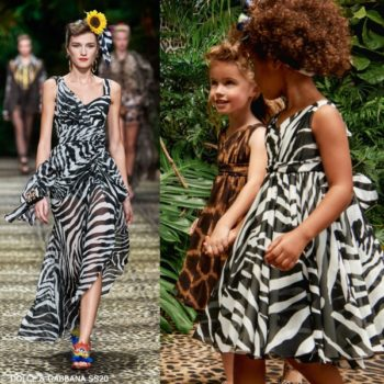 Dolce & Gabbana Girl Mini Me Black & White Zebra Print Silk Dress