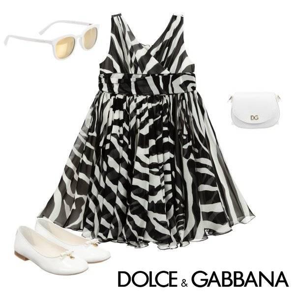 Dolce & Gabbana Girl Mini Me Black & White Zebra Print Silk Dress Spring 2020