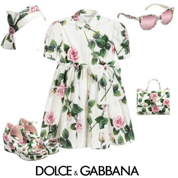 Dolce & Gabbana Girl Mini Me White & Pink Tropical Rose Print Dress Spring 2020