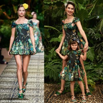 Dolce & Gabbana Girls Mini Me Black & Green Jungle Print Runway Dress