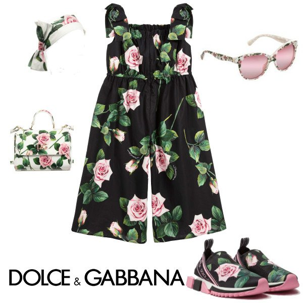Dolce & Gabbana Girls Mini Me Black & Pink Tropical Rose Print Jumpsuit