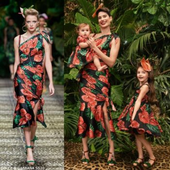 Dolce & Gabbana Girls Mini Me Black & Red Laceleaf Floral Print Runway Dress