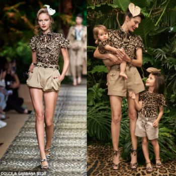 Dolce & Gabbana Girls Mini Me Brown Leopard Print T-Shirt Beige Shorts