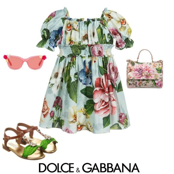 Dolce & Gabbana Girls Mini Me Green Cotton Floral Blooming Dress Spring 2020