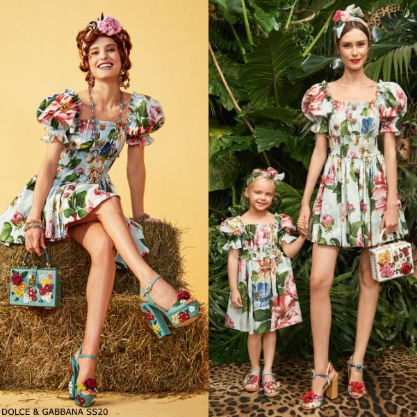 Dolce & Gabbana Girls Mini Me Green Cotton Floral Blooming Dress