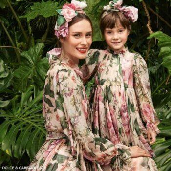 Dolce & Gabbana Girls Mini Me Pink Silk Blooming Print Chiffon Dress