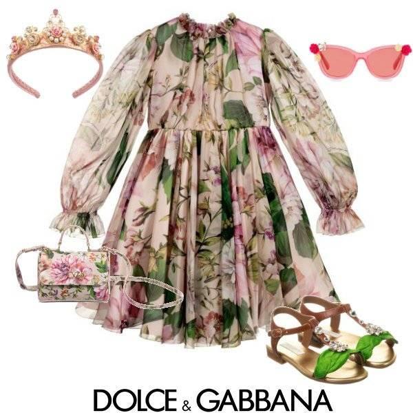 Dolce & Gabbana Girls Mini Me Pink Silk Blooming Print Chiffon Dress Spring 2020