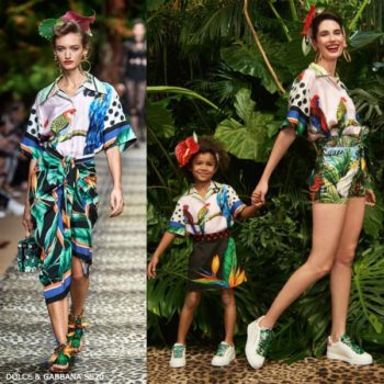 Dolce & Gabbana Girls Mini Me Pink Silk Tropical Bird Shirt & Black Strelitzia Flower Skirt