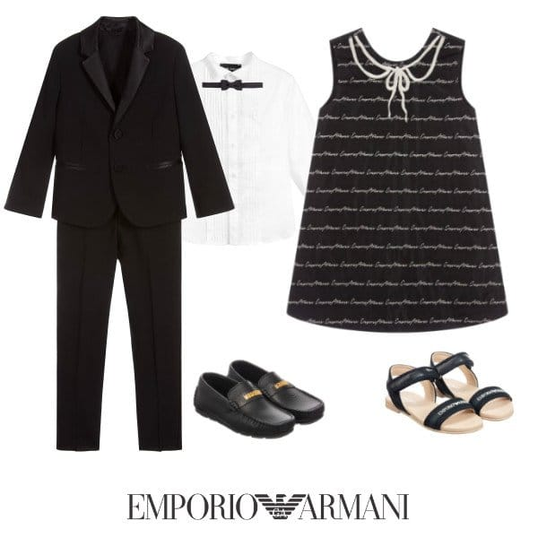 Emporio Armani Boys Black Wool Tuxedo Suit Girls Navy Blue Logo Dress Spring 2020
