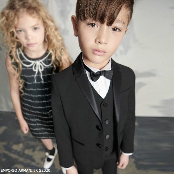 Emporio Armani Boys Black Wool Tuxedo Suit Girls Navy Blue Logo Dress