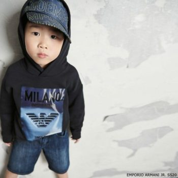 Emporio Armani Boys Mini Me Blue Milan Hooded Sweatshirt & Blue Denim Logo Shorts