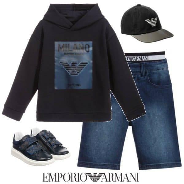 Emporio Armani Boys Blue Milan Hooded Sweatshirt Blue Denim Logo Shorts Spring 2020