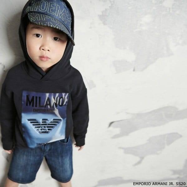 Emporio Armani Boys Mini Me Blue Milan Hooded Sweatshirt & Blue Denim Logo Shorts