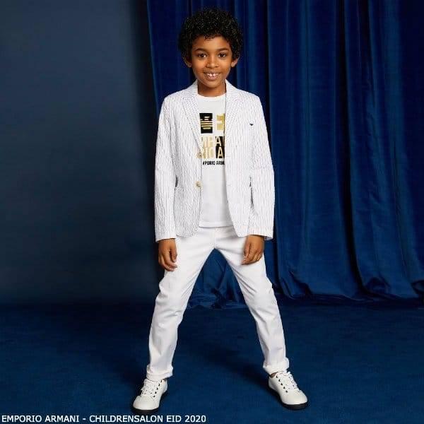Emporio Armani Boys White Stripe Blazer Eid 2020
