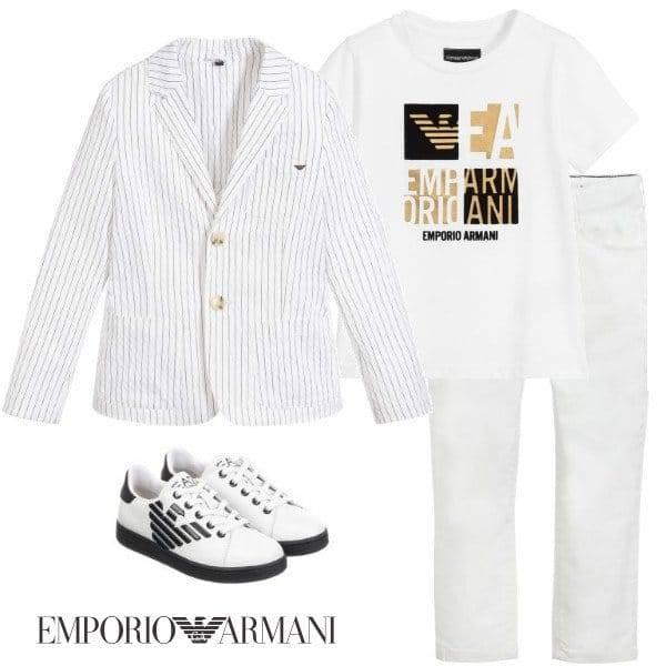 Emporio Armani Boys White Stripe Blazer Logo Tshirt Eid 2020