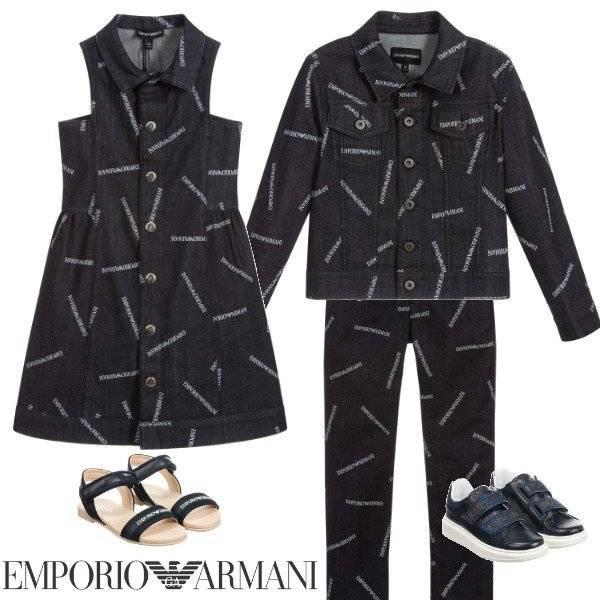 Emporio Armani Jr. Girls Blue Denim Logo Dress Jacket Pants Spring 2020