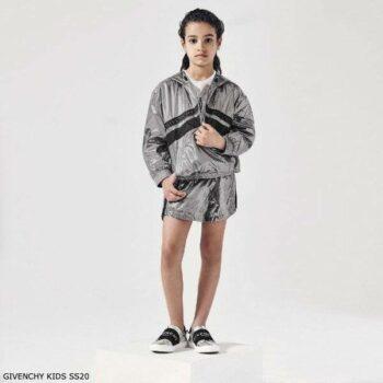 Givenchy Girls Mini Me Silver Hooded Jacket & Logo Shorts