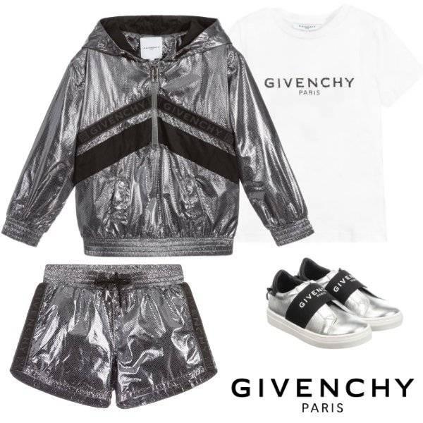 Givenchy Girls Mini Me Silver Hooded Jacket Logo Shorts Spring 2020