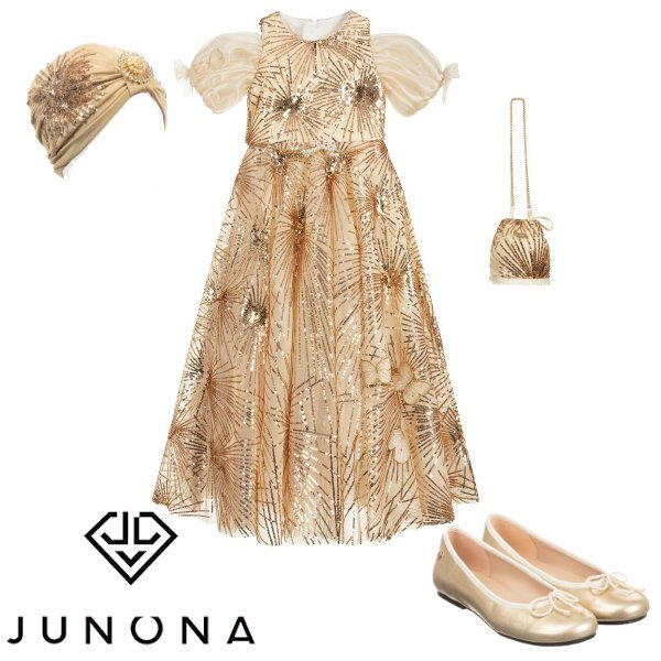 Junona Gold Sequin Party Dress EID 2020
