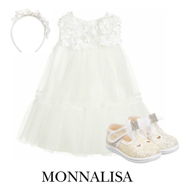 Monnalisa Baby Girl Ivory Floral Tulle Special Occasion Dress Spring 2020