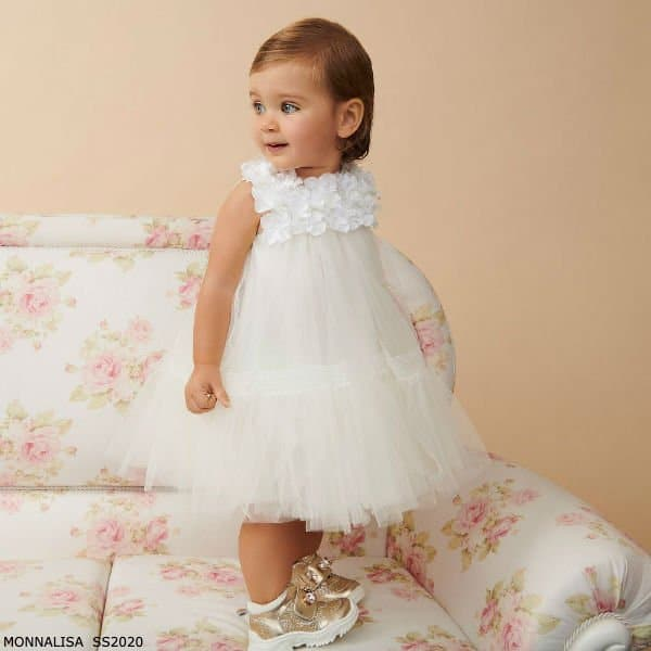 Monnalisa Baby Girl Ivory Floral Tulle Special Occasion Dress
