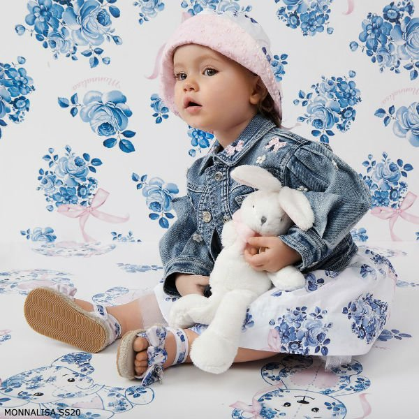 Monnalisa Baby Girl White Blue Floral Print Cotton Dress