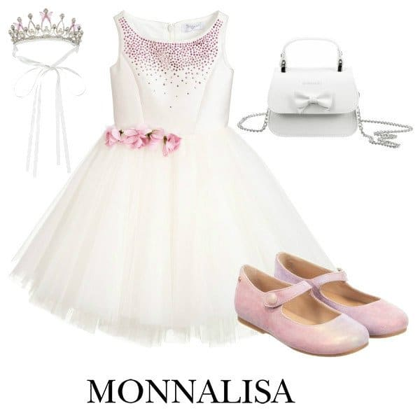 Monnalisa Couture Girls Pale Pink Crystal & Tulle Special Occasions Dress Spring 2020