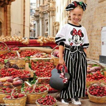 Monnalisa Girl White & Black Minnie Mouse Shirt Striped Culotte Pants
