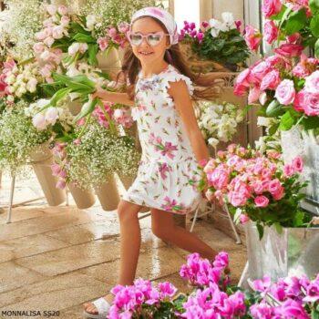 Monnalisa Girl White Pink Tulip Print Dress