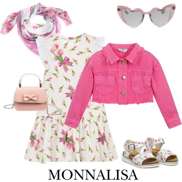 Monnalisa Girl White Pink Tulip Print Dress Pink Bugs Bunny Crop Denim Coat