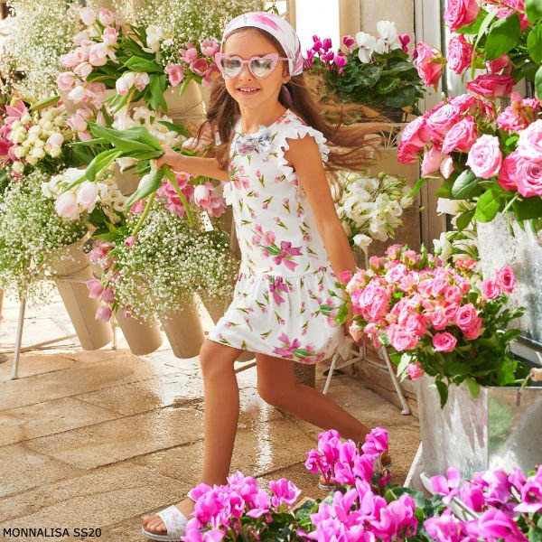 Monnalisa Girl White Pink Tulip Print Dress