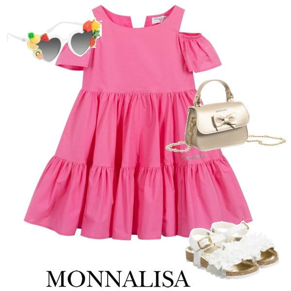 Monnalisa Girls Fuchsia Pink Open Shoulder Cotton Dress Spring 2020