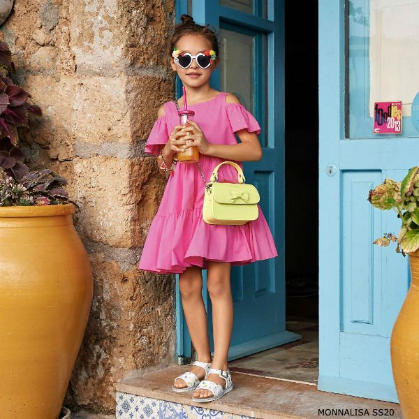 Monnalisa Girls Fuchsia Pink Open Shoulder Cotton Dress