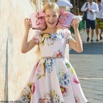 Monnalisa Girls Pink Satin Floral Party Dress