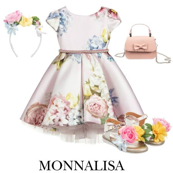 Monnalisa Girls Pink Satin Floral Party Dress Spring 2020