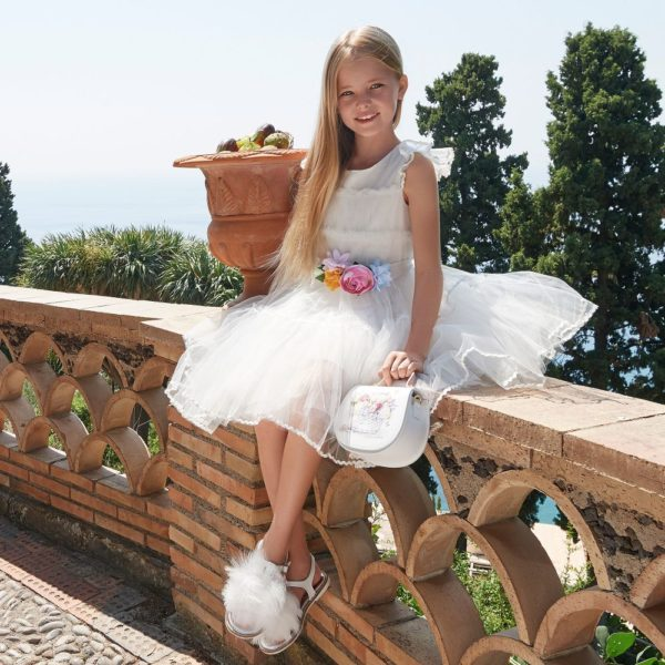 Monnalisa Girls White Tulle Pink Blue Yellow Flower Belt Party Dress