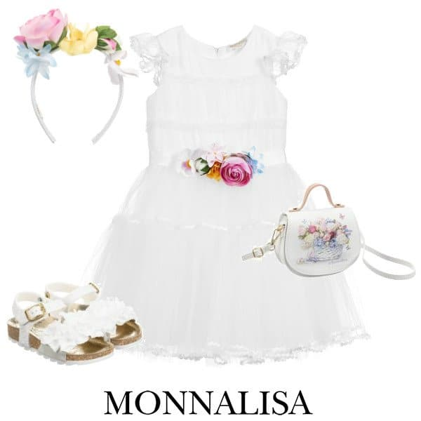 Monnalisa Girls White Tulle Pink Blue Yellow Flower Sash Special Occasion Dress