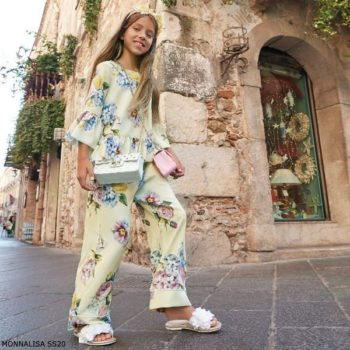 Monnalisa Chic Girls Yellow Floral Print Crepe Blouse & Pants