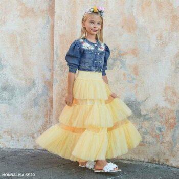 Monnalisa Chic Girls Yellow Tulle Maxi Dress Blue Denim Cropped Jacket